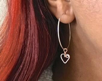 Sterling Silver Hoops with Rose Gold Heart Charm. Sterling Silver and 14k Rose Gold Filled Drop Round Hoop Earrings