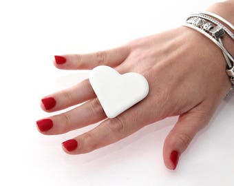White Heart, Ceramic Ring, Gift for Her  - ceramic jewelry,  adjustable ring, statement ring, cocktail ring - handmade ring by StudioLeanne