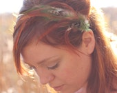 Neutral feather hair band. Tan, honey brown and pale green. Boho head band fascinator. Forest palette   hb003