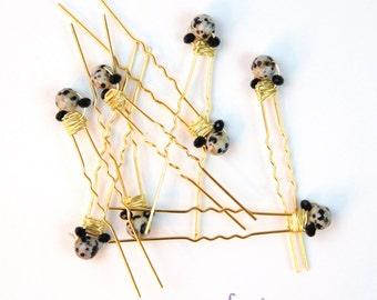 Semiprecious stone and black crystal gold bobby pins. Dalmatian jasper. Hair accessory, bridesmaids. Set of 8. bp010