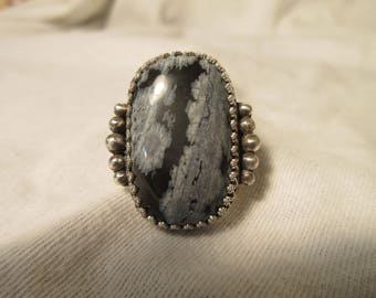 Sterling Silver Snowflake Obsidian Ring - Size 9 - FREE RESIZING