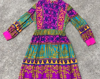 1970s Vintage Dress - Bold Bright Colors and Pattern - Aloha Style - Neon Orange Pink Turquoise Purple - Fun Party Dress - 38 Bust