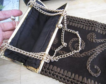 Genuine Leather Brown Suede Chain and Crochet Purse Made in Italy