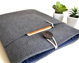iPad Sleeve iPad Case Tablet iPad Air Case, iPad Pro Case Cover, Custom Size Fit, Padded With Pocket - Flannel Gray Herringbone