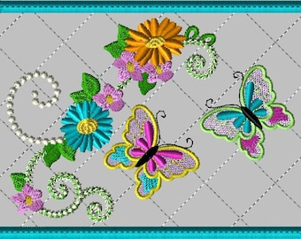 Machine Embroidery Design-ITH-Mug Rug-Customer Requested-Double Butterfly with Flowers includes 2 sizes, 5x7 and 6x10 hoops