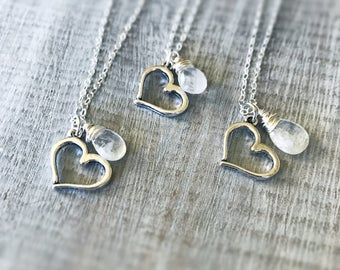 Silver Heart Necklace, Sterling Silver Necklace, Heart Charm Pendant, Moonstone Pendant, Love Jewelry, Silver Charm Necklace, Gift for Women