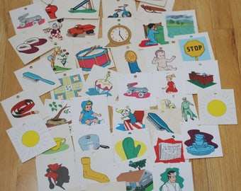 Vintage Pegboard Picture Cards Ideal School Supply 174 Picture cards
