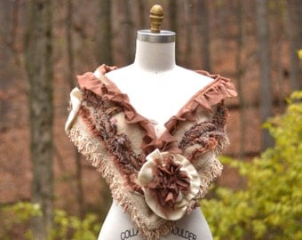 Long wool SCARF/ off white taupe Shawl/ boho warm textured Winter Wrap with chiffon lining