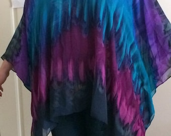 Silk Caftan Hand Dyed Extra Large Moonlight Bliss Short Caftan