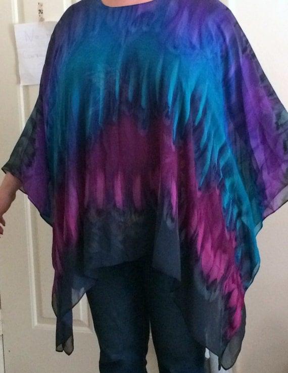 Silk Caftan Hand Dyed Extra Large Moonlight Bliss Short Caftan