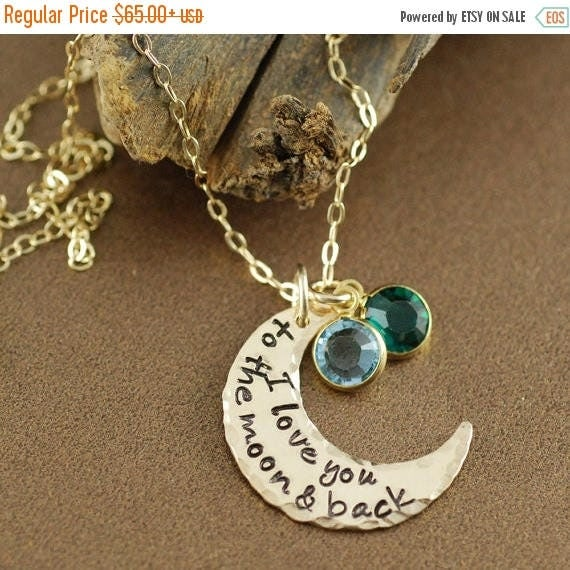 15% OFF SALE I Love you to the Moon and Back Necklace, Hand Stamped Necklace, Moon and Back Jewelry, Personalized Crescent Moon Necklace