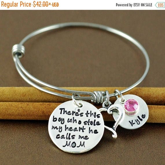 15% OFF SALE There's this boy who stole my heart Bracelet, Jewelry for Mom, Personalized Bangle Bracelet, Silver Bangle Charm Bracelet, Name