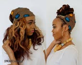 Wide Headband Wrap Satin Lined Head Wrap Pineapple Bun Wrap Ankara African Print Wrap Turban Wide Hair Wrap - Mali or Choose Print