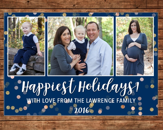 Photo Picture Christmas 3 pictures Happiest Holidays Navy Glitter Gold Silver Confetti - Digital File