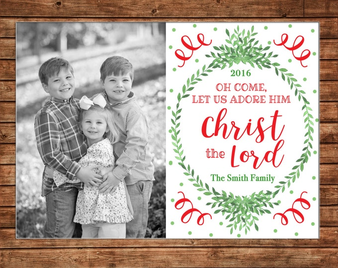 Photo Picture Christmas Wreath Garland Laurel Red Green Oh Come Let Us Adore Him Christ The Lord  - Digital File