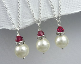 Ruby Red Necklace, Ruby Bridesmaid Gift Necklace , Swarovski Ivory Pearl and Ruby Red Crystal Necklace, Ruby Red Bridesmaid Necklace