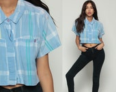 Plaid Blouse 80s CROP TOP Checkered Button Up Shirt Baby Blue 1980s Short Sleeve Vintage Hipster Retro Pastel Small