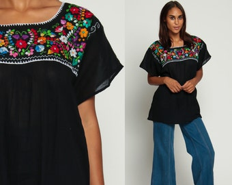 Mexican EMBROIDERED Blouse Hippie Top Black Boho Shirt FESTIVAL Cotton Tunic Bohemian Floral Vintage Ethnic Tent Retro Medium Large