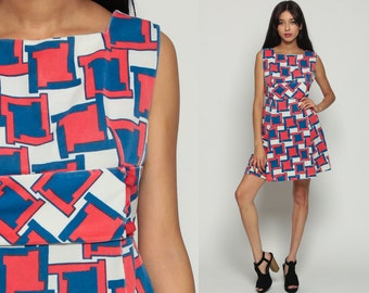 Mod Mini Dress 70s Babydoll Empire Waist Boho Geometric Op Art Print Vintage Sleeveless 1970s Bohemian Psychedelic Red White Blue Large