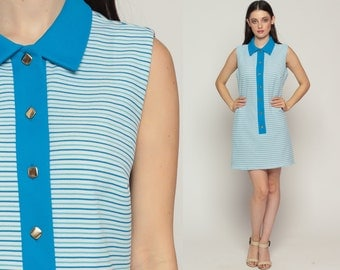 70s Mini Dress 60s Shift Mod Striped Button Up Mini Collared Sleeveless Blue White Vintage 1970s Twiggy Gogo Sixties Large
