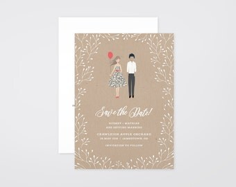 The 'Avery' Hand-Drawn Caricature Save the Date Announcement (Printable)