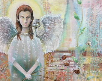 Original Mixed Media Fantasy Angel Owl Painting
