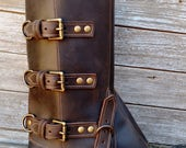 Taller Swiss Military Style Gaiters or Spats in Oiled Dark Chocolate Brown Leather w Antiqued Brass Hardware