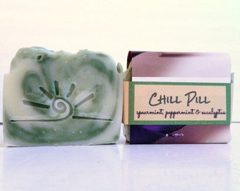 CHILL PILL All Natural Soap / Spearmint, Peppermint, Eucalyptus