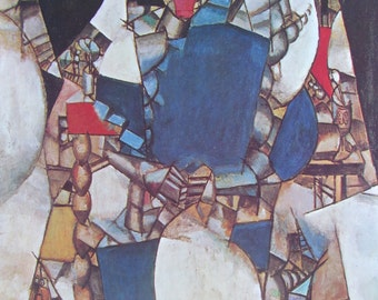 Woman in Blue/Nude Figures in a Wood, Cubism, Modern Art, 1970 2-Sided Book Page, Fine Art Print, Color Plate