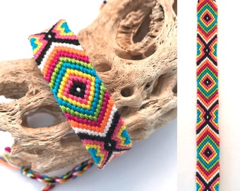 Friendship bracelet - embroidery floss - rainbow - evil eye - colorful - woven - bright - thread - macrame - knotted - string