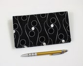 Last One!Checkbook Cover with Pen Holder for Duplicate Checks, White Dots on Black Cotton Fabric