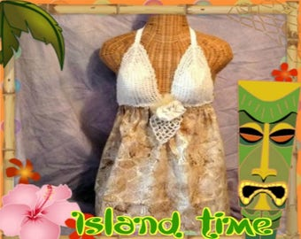 Batik Seashell Dress Crochet Halter Bra Fashion One Size Doily Ivory Coachella Boho