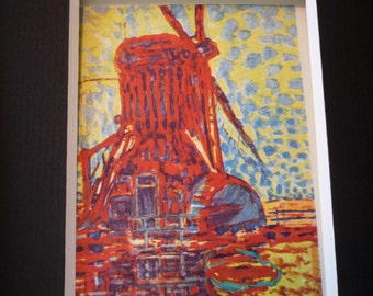 Mondrian - The Windmill In Sunlight Matted Print - vibrant colors great display item gift for art lover - matted for 5 by 7 frame