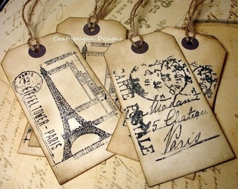 130 French Luggage Tags with Twine or Ribbon/ Eiffel Tower Luggage Tags/ Wedding Destination Table Tags/ Vintage Travel Tags