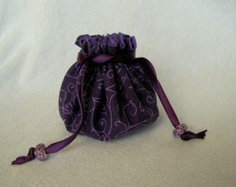 Drawstring Jewelry Pouch - Medium Size - Jewelry Tote - Travel Bag - PURPLE POP