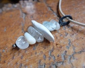 Opal, Quartz crystal, Kyanite, Agate pendant necklace - handmade in Australia by NaturesArtMelbourne, grey blue jewellery
