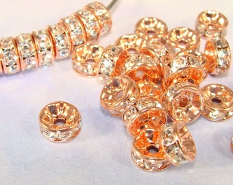 7mm Rose Gold Rhinestone Disc Beads 30pcs Copper Spacer Beads with Crystal Rhinestones Rondelle Jewelry Making Supplies Bulk Beads RG7m