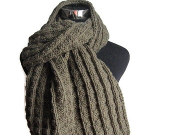 Hand Knit Scarf, Vegan Knits, Mens Accessories, Moss Green Scarf, Long Scarf, Winter Fashion, Womens Accessories, Mens Scarf
