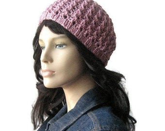 Knit Pink Hat, The Leslie Beanie, Pink Lace Beanie, Womens Hat, Knit Pink, Spring Fashion, Vegan Beanie, Womens Accessories, Knitted Hat