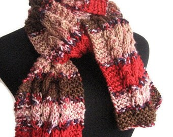 Hand Knit Scarf Peach,Navy,Brown and Red Cable and Lace Scarf, The Stef Scarf, Womens Accessories Red Knitted Scarf Fall Fashion Accessories