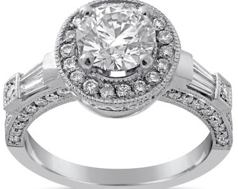 EGL certified Round cut antique style diamond engagement ring with baguettes and milgrain R159