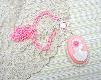 spring pink cameo necklace assemblage kitsch kawaii glitter star heart recycled vintage jewelry