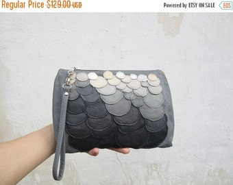 SALE grey leather clutch bag, leather wristlet, stonehenge clutch, holiday season bag, leather clutch ombre winter fashing,