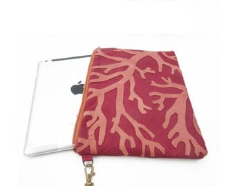 Womens iPad Case leather  pouch tech case Coral Reef cream leather oversized clutch wristlet minimalist ipad bag spring fashion, mothers day