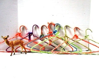 17 Vintage Crochet Clothes Hangers, Retro Hangers. Shabby Chic Closet, Handmade Multi Colored Yarn Covered Metal Hangers, Grandma Made