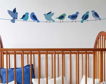 Cute Birds on a Wire Wall Art Stencil - Reusable Wall Stencils for a Creative Twist to a Nursery - Quicker and Easier than Decals