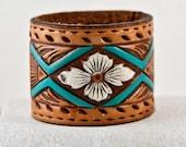 Southwest Jewelry Tooled Leather Bracelet Cuff