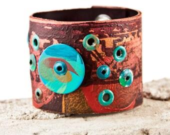 Boho Jewelry Women's Cuff Wristband - Gypsy Bracelet Rainwheel
