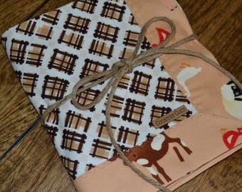 Western Cowboy Cowgirl Baby Blanket Flannel Receiving Riley Blake Farm Fresh