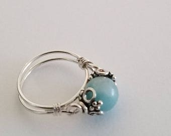 Amazonite Ring, Sterling Silver Band and Bead Caps